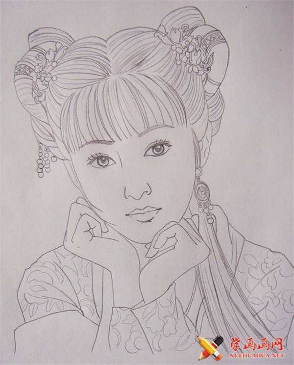 簡易古裝美女鉛筆畫 彩鉛畫手繪古裝美女步驟教程
