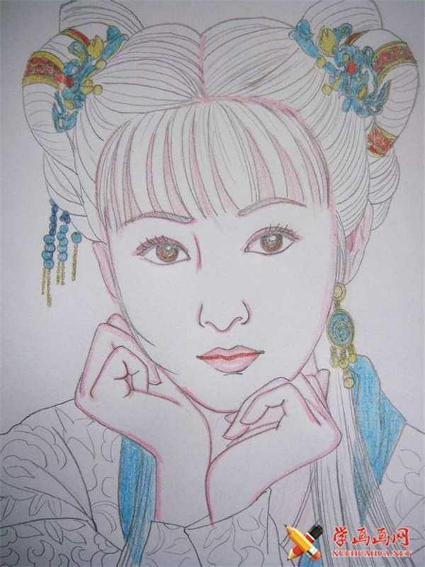 简易古装美女铅笔画 彩铅画手绘古装美女步骤教程