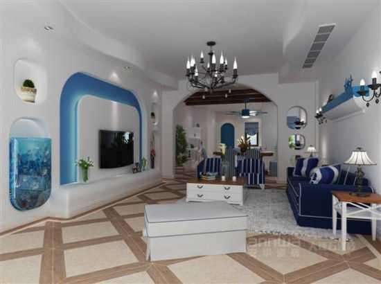 top2:极富浪漫的地中海客厅装修效果图