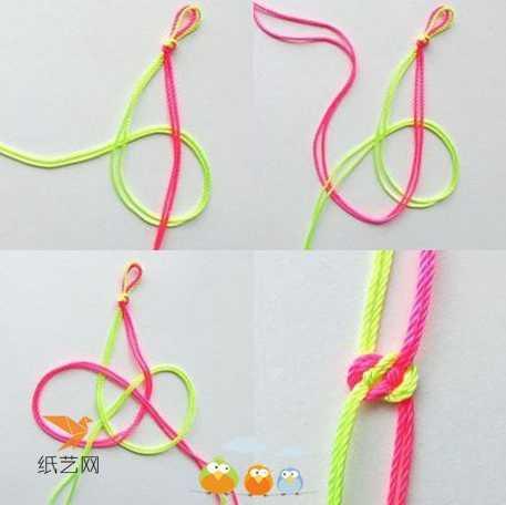 五彩绳手链编法图解 手工编织漂亮简单的中国结五彩绳手链的制作教程