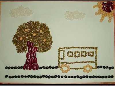 豆子粘贴包包 一组童趣十足的豆子拼贴画手工作品