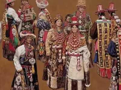 藏族人物油画 藏族美女+文玩