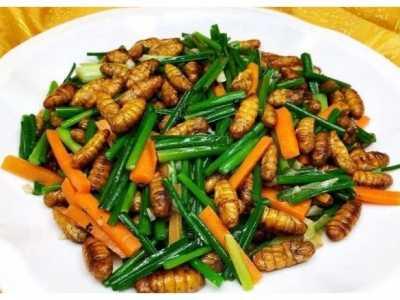 猪油渣韭菜包子 把韭菜和蚕蛹一起炒