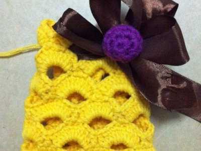 钩针编织小包包底 镂空毛线小包包口袋包钩针编织教程