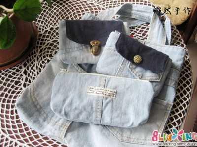 牛仔裙怎样做包包 旧物改造背带牛仔裙变包包四件套~